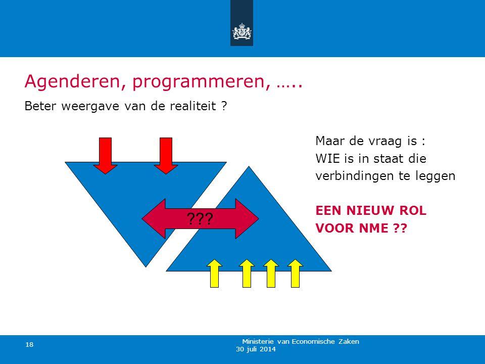 30 juli 2014 Ministerie van Economische Zaken 18 Agenderen, programmeren, ….. Beter weergave van de realiteit ? Maar de vraag is : WIE is in staat die