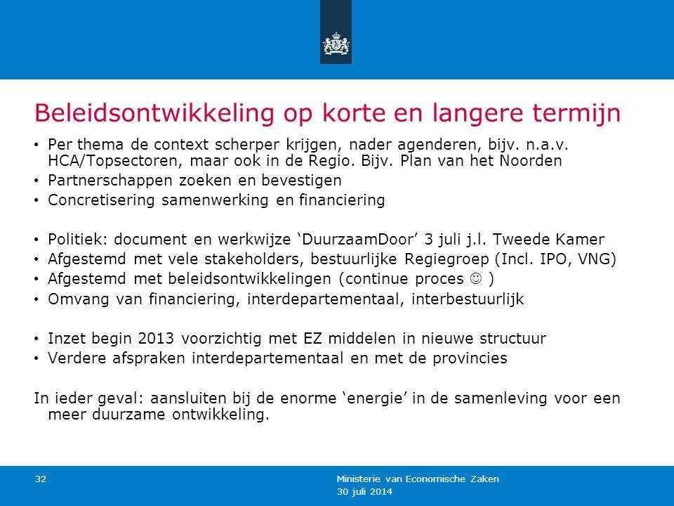 30 juli 2014 Ministerie van Economische Zaken 32 Beleidsontwikkeling op korte en langere termijn Per thema de context scherper krijgen, nader agendere