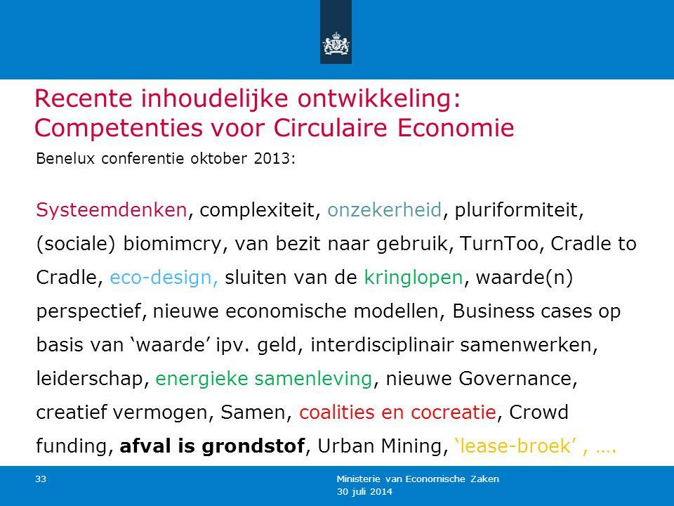 30 juli 2014 Ministerie van Economische Zaken 33 Recente inhoudelijke ontwikkeling: Competenties voor Circulaire Economie Benelux conferentie oktober