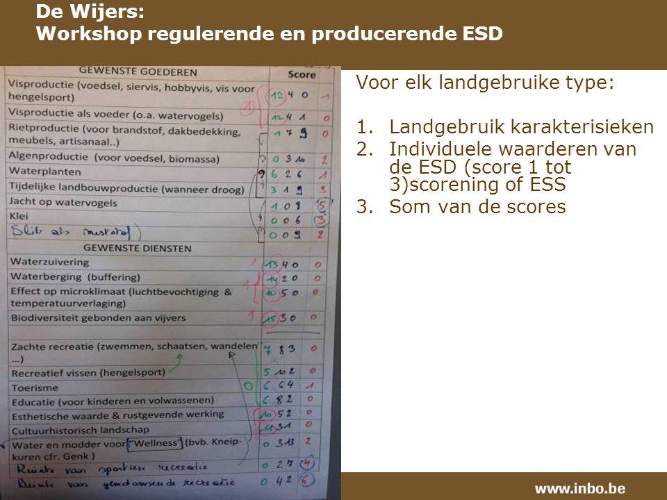 Voor elk landgebruike type: 1.Landgebruik karakterisieken 2.Individuele waarderen van de ESD (score 1 tot 3)scorening of ESS 3.Som van de scores De Wijers: Workshop regulerende en producerende ESD