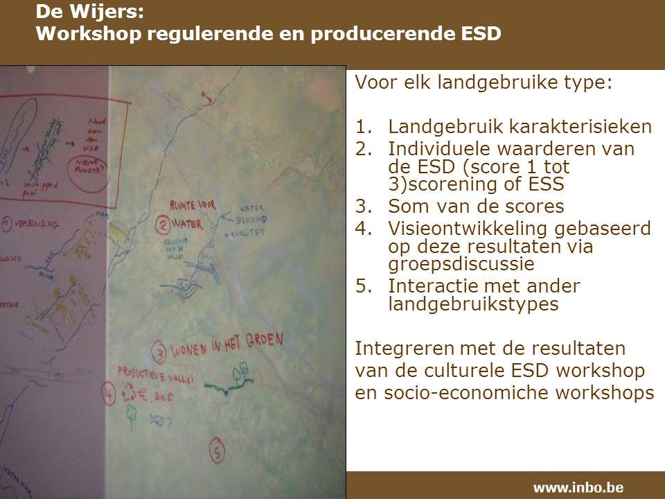 Voor elk landgebruike type: 1.Landgebruik karakterisieken 2.Individuele waarderen van de ESD (score 1 tot 3)scorening of ESS 3.Som van de scores 4.Visieontwikkeling gebaseerd op deze resultaten via groepsdiscussie 5.Interactie met ander landgebruikstypes Integreren met de resultaten van de culturele ESD workshop en socio-economiche workshops De Wijers: Workshop regulerende en producerende ESD