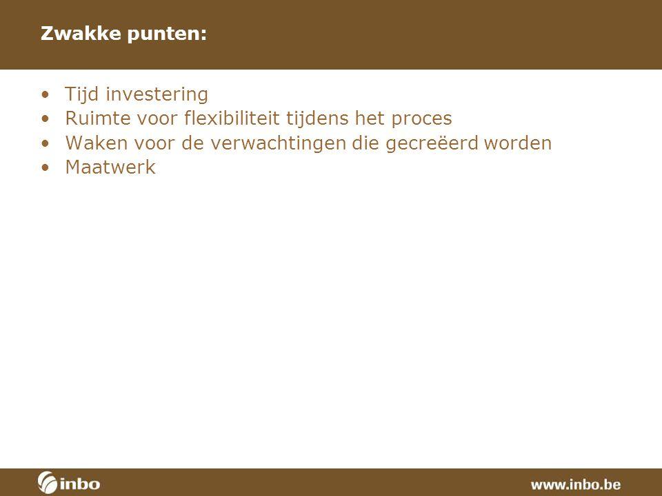 Zwakke punten: Tijd investering Ruimte voor flexibiliteit tijdens het proces Waken voor de verwachtingen die gecreëerd worden Maatwerk