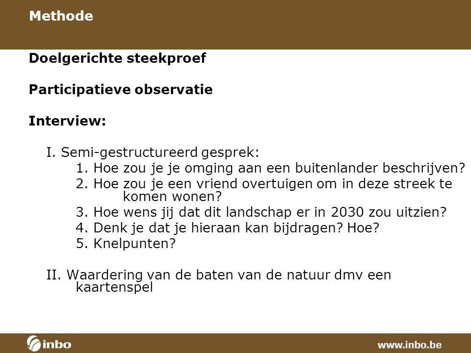 Methode Doelgerichte steekproef Participatieve observatie Interview: I.