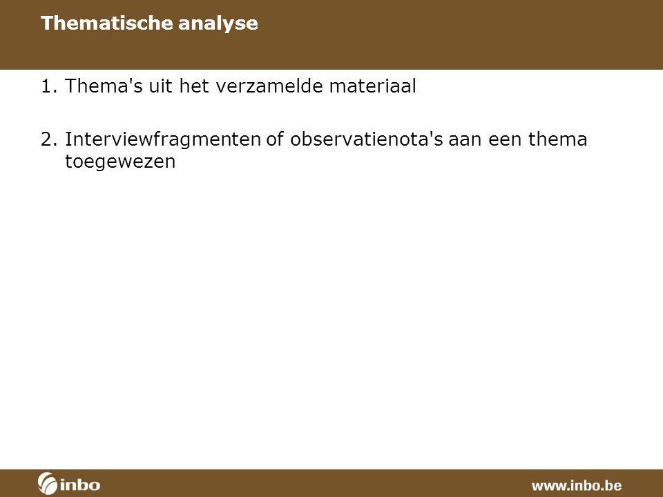 Thematische analyse 1. Thema s uit het verzamelde materiaal 2.