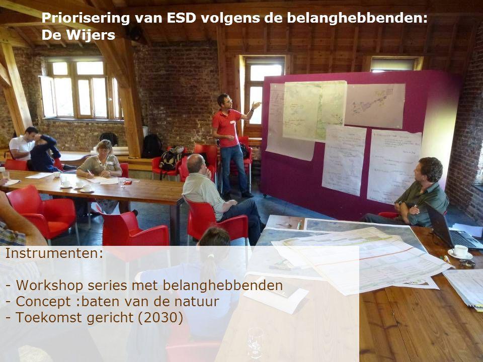 Instrumenten: - Workshop series met belanghebbenden - Concept :baten van de natuur - Toekomst gericht (2030) Priorisering van ESD volgens de belanghebbenden: De Wijers