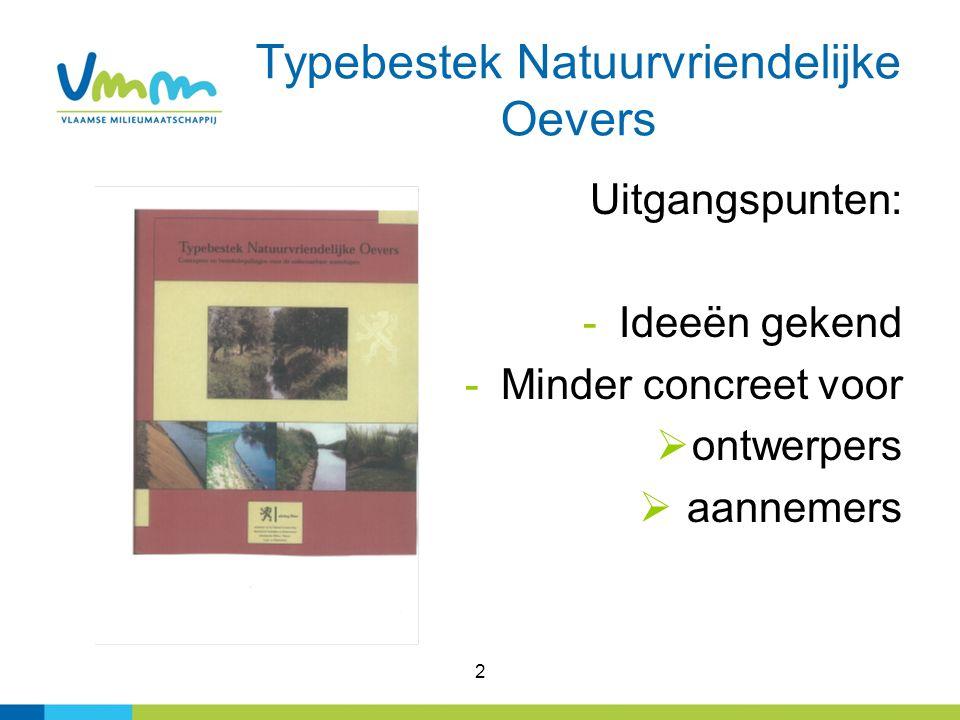 2 Typebestek Natuurvriendelijke Oevers Uitgangspunten: -Ideeën gekend -Minder concreet voor  ontwerpers  aannemers
