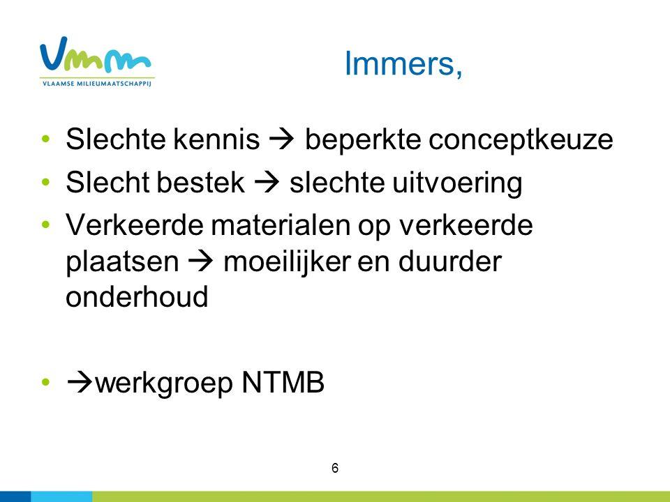 Immers, Slechte kennis  beperkte conceptkeuze Slecht bestek  slechte uitvoering Verkeerde materialen op verkeerde plaatsen  moeilijker en duurder onderhoud  werkgroep NTMB 6