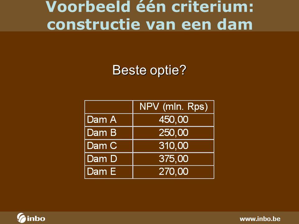Voorbeeld één criterium: constructie van een dam Beste optie