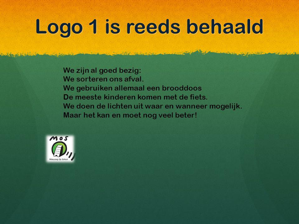 Op naar logo 2 We willen : 1.onze afvalberg verkleinen, 2.