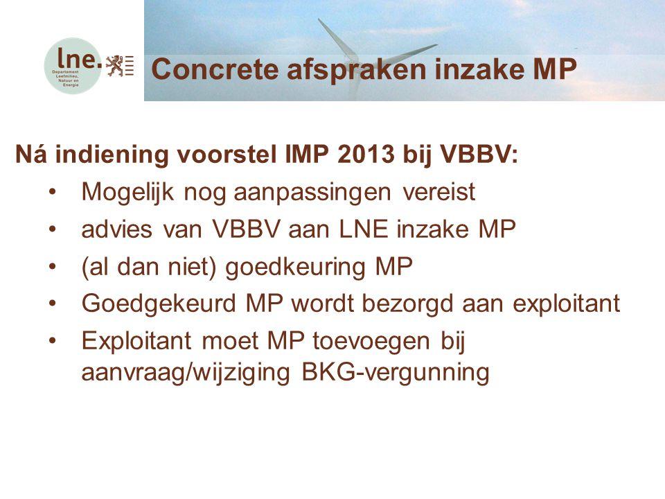 Concrete afspraken inzake MP Ná indiening voorstel IMP 2013 bij VBBV: Mogelijk nog aanpassingen vereist advies van VBBV aan LNE inzake MP (al dan niet) goedkeuring MP Goedgekeurd MP wordt bezorgd aan exploitant Exploitant moet MP toevoegen bij aanvraag/wijziging BKG-vergunning