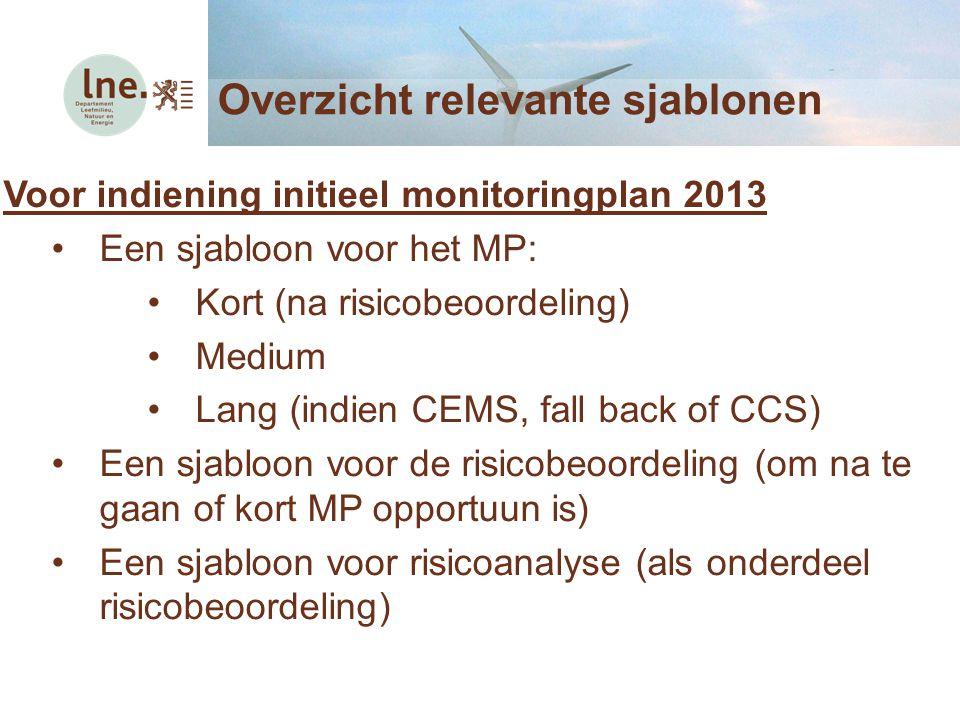Overzicht relevante sjablonen Voor indiening initieel monitoringplan 2013 Een sjabloon voor het MP: Kort (na risicobeoordeling) Medium Lang (indien CE