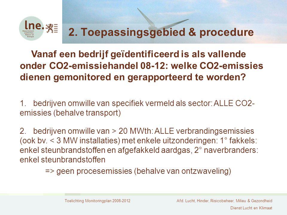 Toelichting Monitoringplan 2008-2012Afd. Lucht, Hinder, Risicobeheer, Milieu & Gezondheid Dienst Lucht en Klimaat 2. Toepassingsgebied & procedure Van
