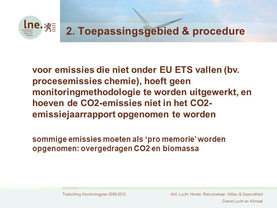 Toelichting Monitoringplan 2008-2012Afd. Lucht, Hinder, Risicobeheer, Milieu & Gezondheid Dienst Lucht en Klimaat 2. Toepassingsgebied & procedure voo
