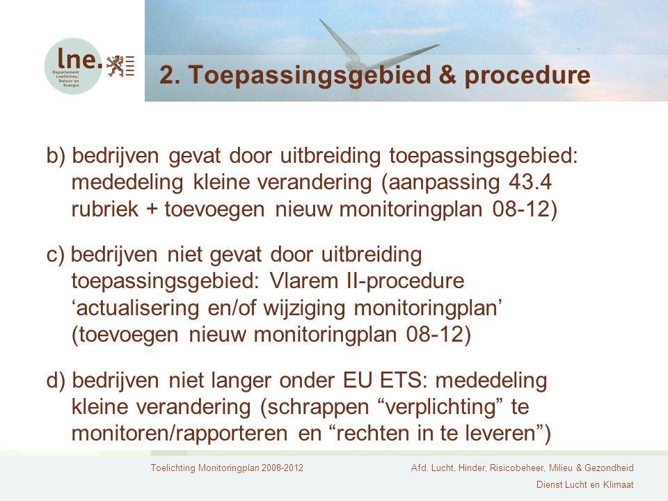 Toelichting Monitoringplan 2008-2012Afd. Lucht, Hinder, Risicobeheer, Milieu & Gezondheid Dienst Lucht en Klimaat 2. Toepassingsgebied & procedure b)