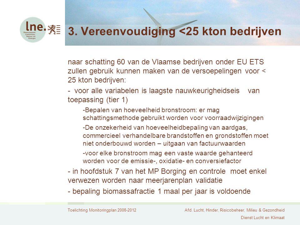 Toelichting Monitoringplan 2008-2012Afd. Lucht, Hinder, Risicobeheer, Milieu & Gezondheid Dienst Lucht en Klimaat 3. Vereenvoudiging <25 kton bedrijve