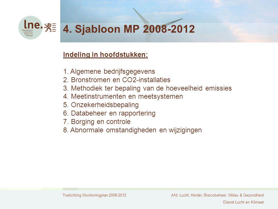 Toelichting Monitoringplan 2008-2012Afd. Lucht, Hinder, Risicobeheer, Milieu & Gezondheid Dienst Lucht en Klimaat 4. Sjabloon MP 2008-2012 Indeling in