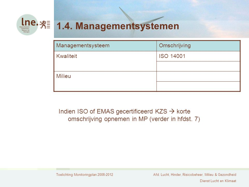 Toelichting Monitoringplan 2008-2012Afd. Lucht, Hinder, Risicobeheer, Milieu & Gezondheid Dienst Lucht en Klimaat 1.4. Managementsystemen Managementsy