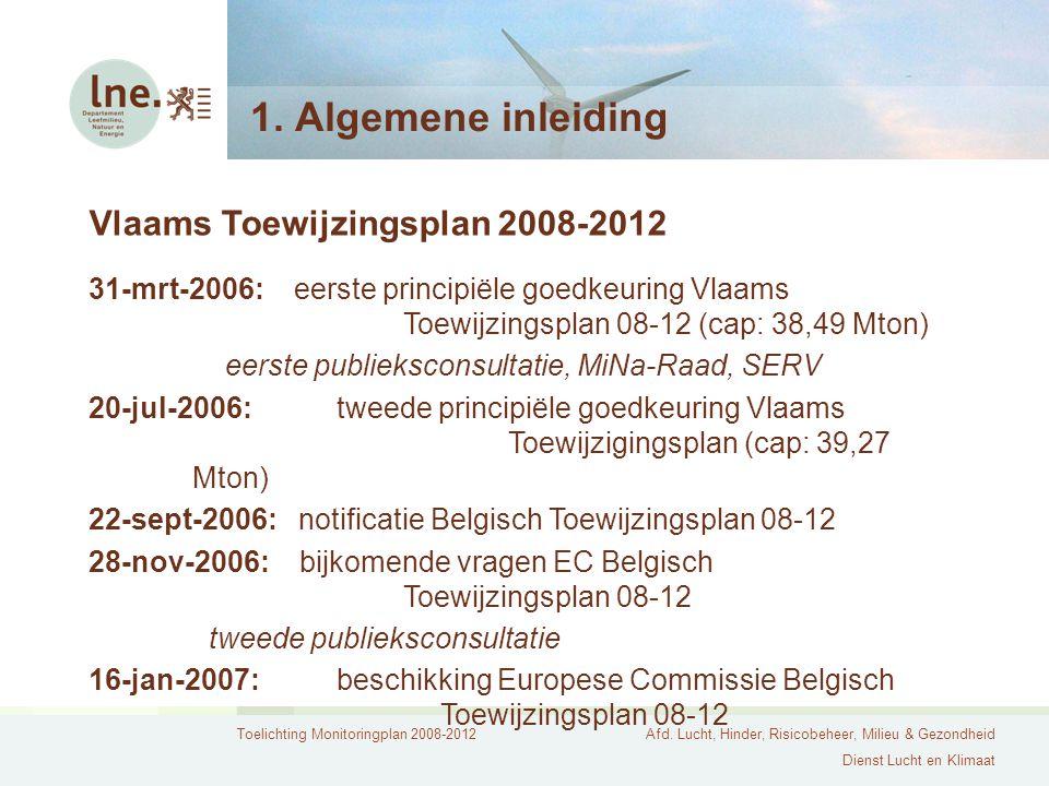 Toelichting Monitoringplan 2008-2012Afd. Lucht, Hinder, Risicobeheer, Milieu & Gezondheid Dienst Lucht en Klimaat 1. Algemene inleiding Vlaams Toewijz