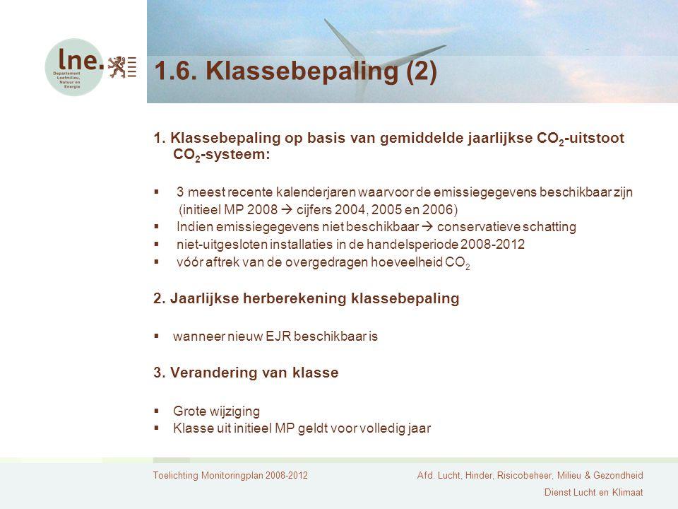 Toelichting Monitoringplan 2008-2012Afd. Lucht, Hinder, Risicobeheer, Milieu & Gezondheid Dienst Lucht en Klimaat 1.6. Klassebepaling (2) 1. Klassebep