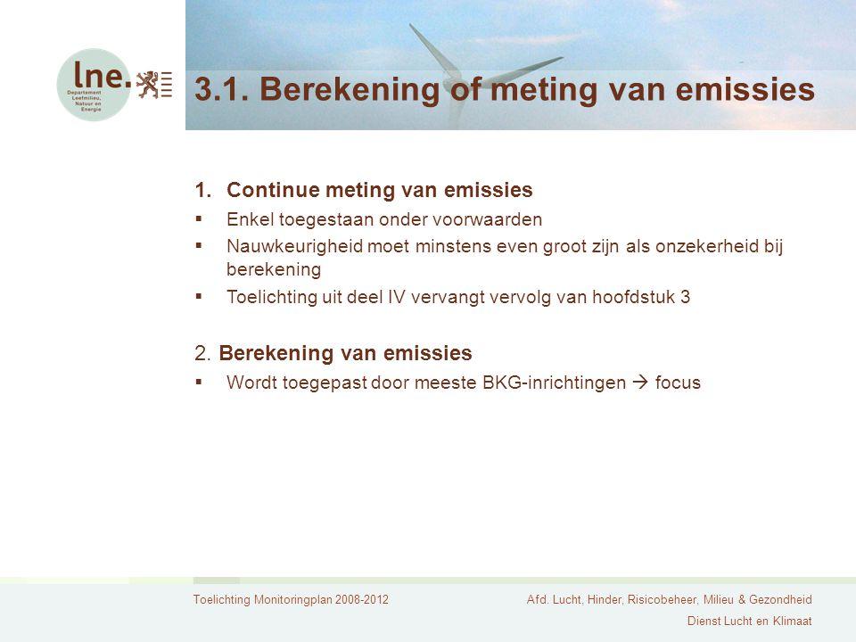 Toelichting Monitoringplan 2008-2012Afd. Lucht, Hinder, Risicobeheer, Milieu & Gezondheid Dienst Lucht en Klimaat 3.1. Berekening of meting van emissi