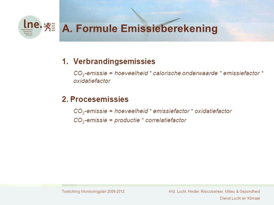 Toelichting Monitoringplan 2008-2012Afd. Lucht, Hinder, Risicobeheer, Milieu & Gezondheid Dienst Lucht en Klimaat A. Formule Emissieberekening 1.Verbr