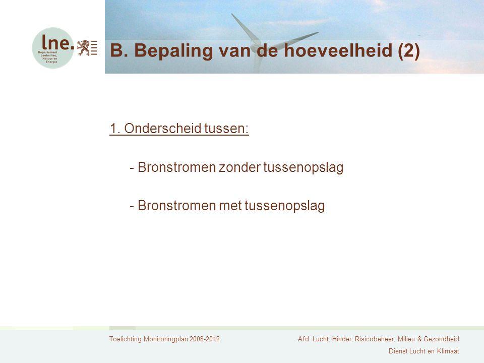 Toelichting Monitoringplan 2008-2012Afd. Lucht, Hinder, Risicobeheer, Milieu & Gezondheid Dienst Lucht en Klimaat B. Bepaling van de hoeveelheid (2) 1