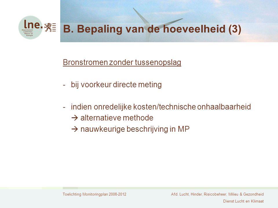 Toelichting Monitoringplan 2008-2012Afd. Lucht, Hinder, Risicobeheer, Milieu & Gezondheid Dienst Lucht en Klimaat B. Bepaling van de hoeveelheid (3) B
