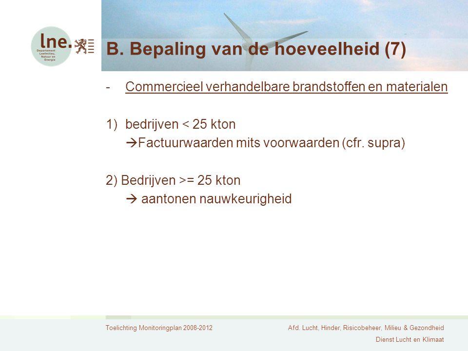 Toelichting Monitoringplan 2008-2012Afd. Lucht, Hinder, Risicobeheer, Milieu & Gezondheid Dienst Lucht en Klimaat B. Bepaling van de hoeveelheid (7) -