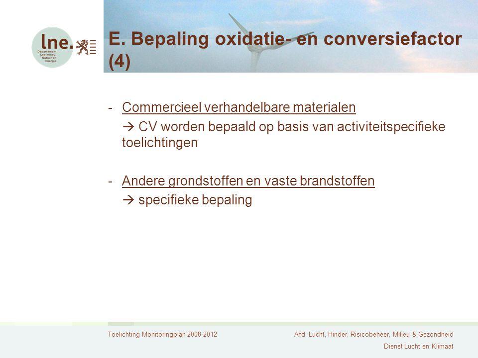 Toelichting Monitoringplan 2008-2012Afd. Lucht, Hinder, Risicobeheer, Milieu & Gezondheid Dienst Lucht en Klimaat E. Bepaling oxidatie- en conversiefa