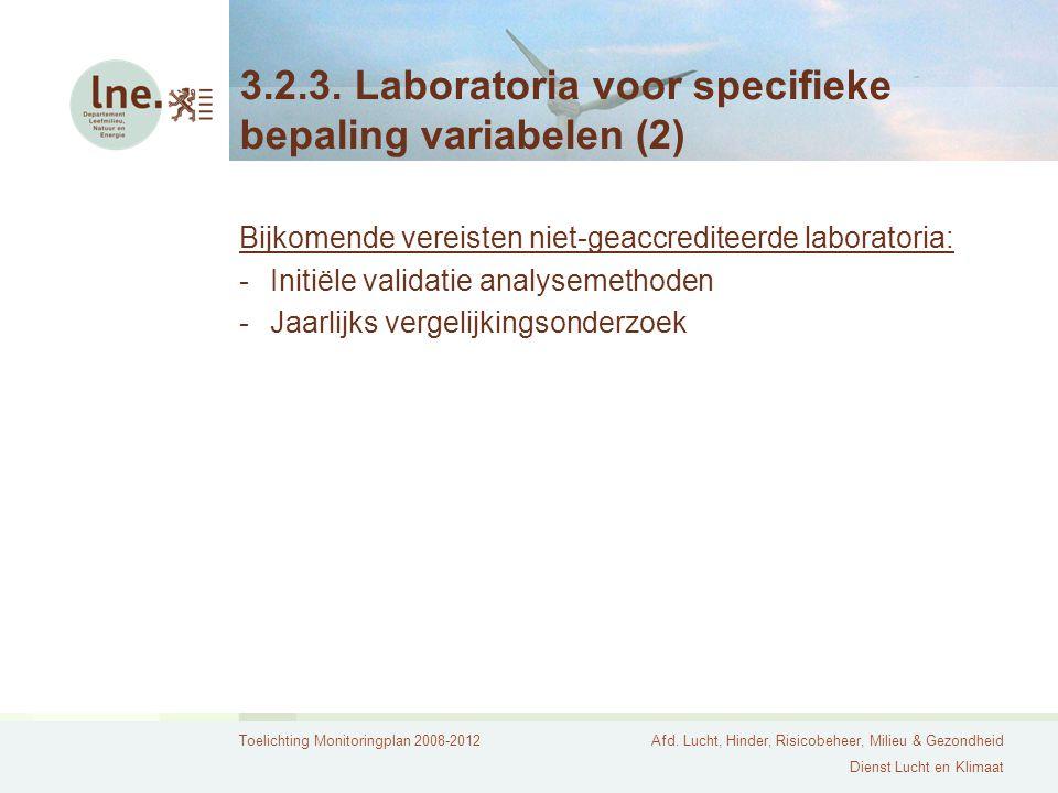 Toelichting Monitoringplan 2008-2012Afd. Lucht, Hinder, Risicobeheer, Milieu & Gezondheid Dienst Lucht en Klimaat 3.2.3. Laboratoria voor specifieke b