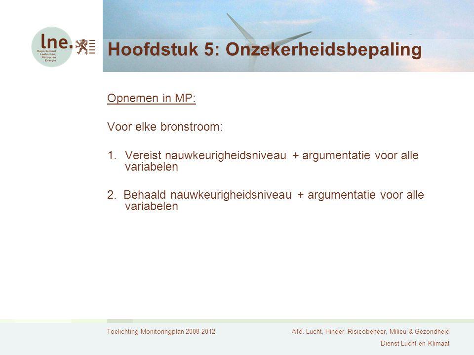 Toelichting Monitoringplan 2008-2012Afd. Lucht, Hinder, Risicobeheer, Milieu & Gezondheid Dienst Lucht en Klimaat Hoofdstuk 5: Onzekerheidsbepaling Op
