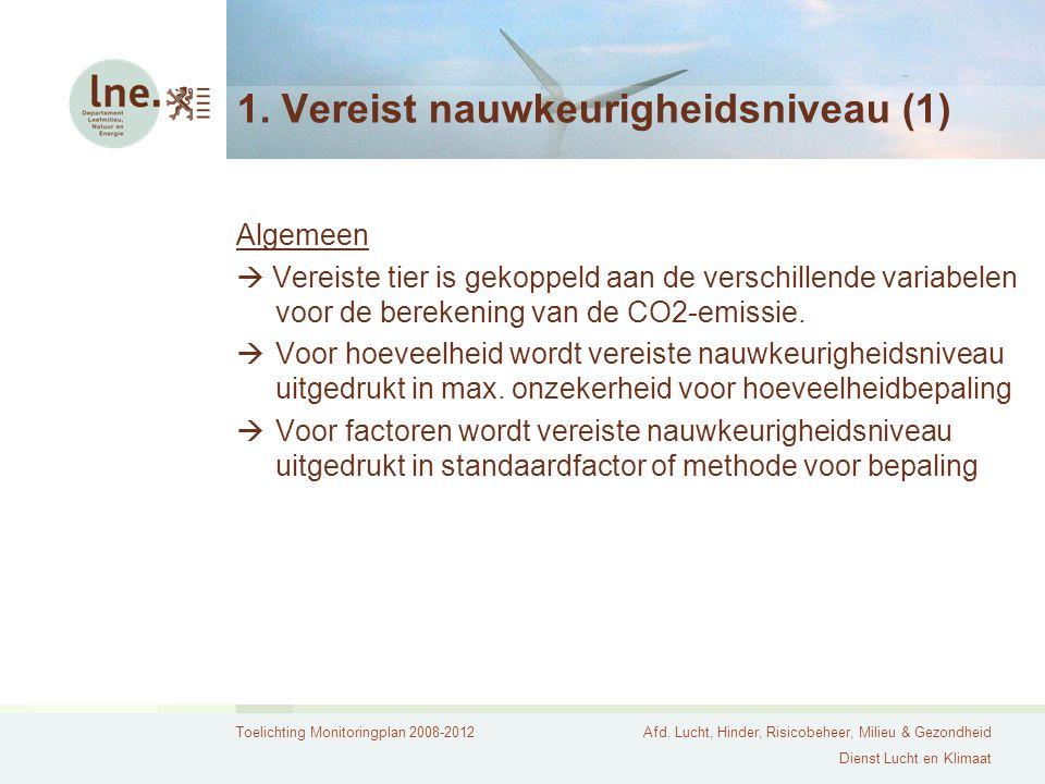Toelichting Monitoringplan 2008-2012Afd. Lucht, Hinder, Risicobeheer, Milieu & Gezondheid Dienst Lucht en Klimaat 1. Vereist nauwkeurigheidsniveau (1)