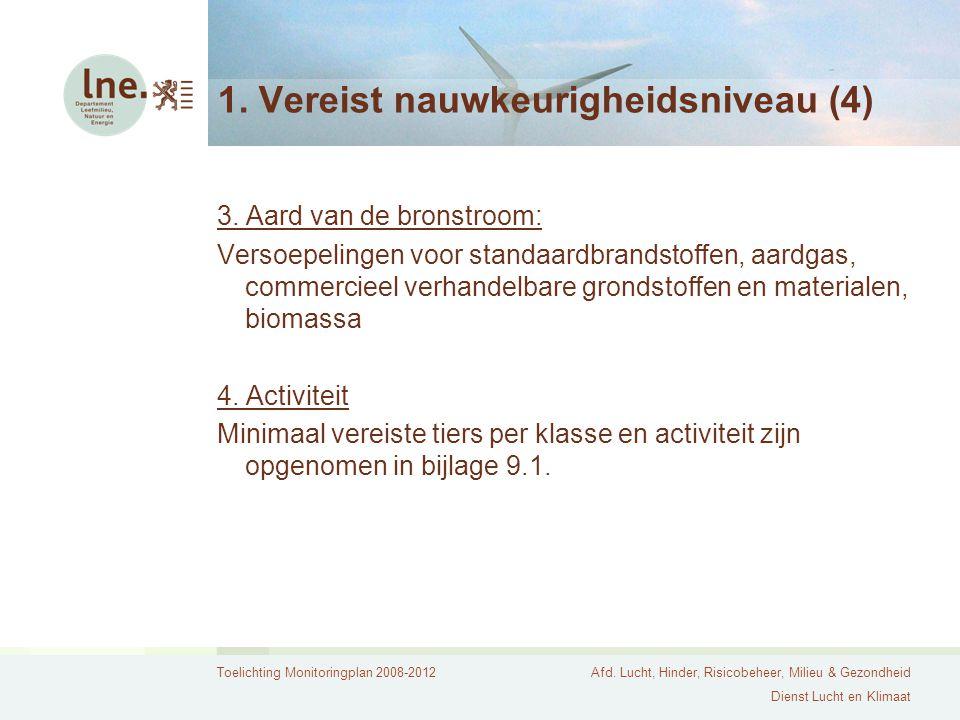 Toelichting Monitoringplan 2008-2012Afd. Lucht, Hinder, Risicobeheer, Milieu & Gezondheid Dienst Lucht en Klimaat 1. Vereist nauwkeurigheidsniveau (4)