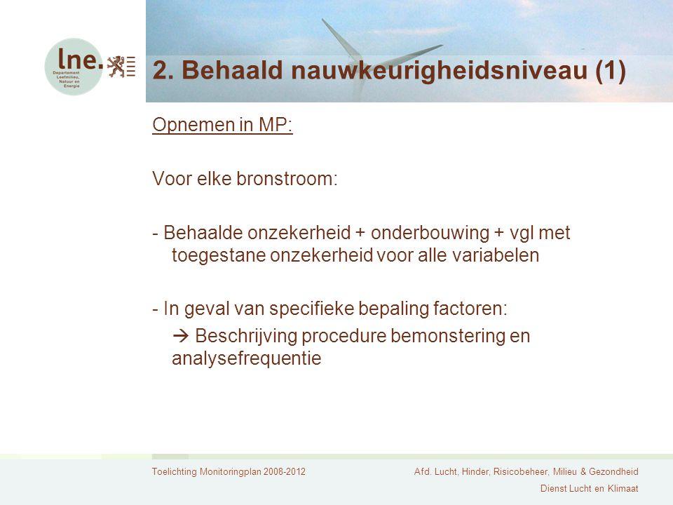 Toelichting Monitoringplan 2008-2012Afd. Lucht, Hinder, Risicobeheer, Milieu & Gezondheid Dienst Lucht en Klimaat 2. Behaald nauwkeurigheidsniveau (1)
