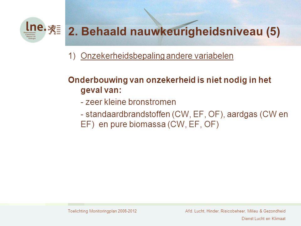 Toelichting Monitoringplan 2008-2012Afd. Lucht, Hinder, Risicobeheer, Milieu & Gezondheid Dienst Lucht en Klimaat 2. Behaald nauwkeurigheidsniveau (5)