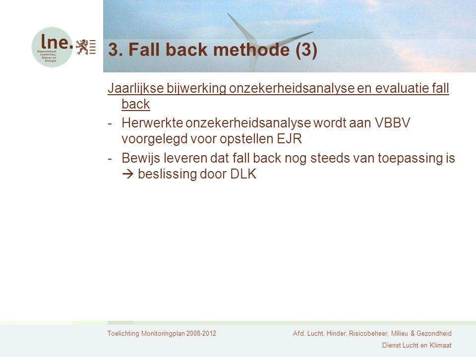 Toelichting Monitoringplan 2008-2012Afd. Lucht, Hinder, Risicobeheer, Milieu & Gezondheid Dienst Lucht en Klimaat 3. Fall back methode (3) Jaarlijkse