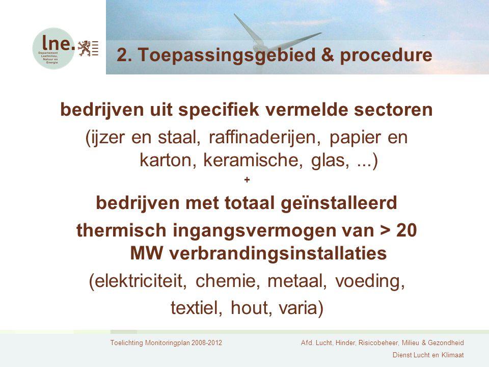 Toelichting Monitoringplan 2008-2012Afd. Lucht, Hinder, Risicobeheer, Milieu & Gezondheid Dienst Lucht en Klimaat 2. Toepassingsgebied & procedure bed