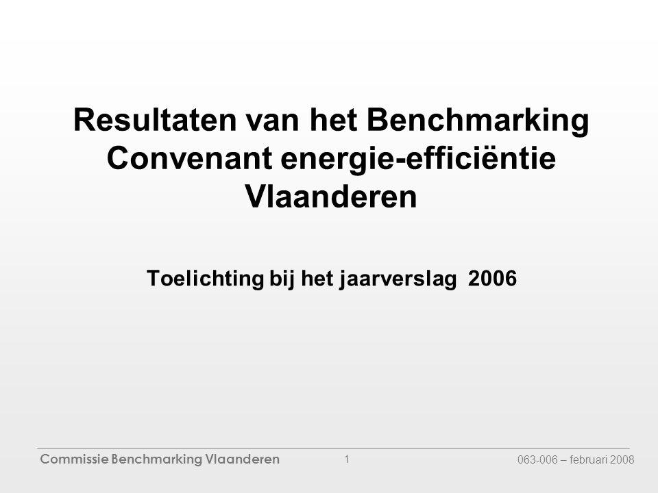 Commissie Benchmarking Vlaanderen 063-006 – februari 2008 1 Resultaten van het Benchmarking Convenant energie-efficiëntie Vlaanderen Toelichting bij het jaarverslag 2006