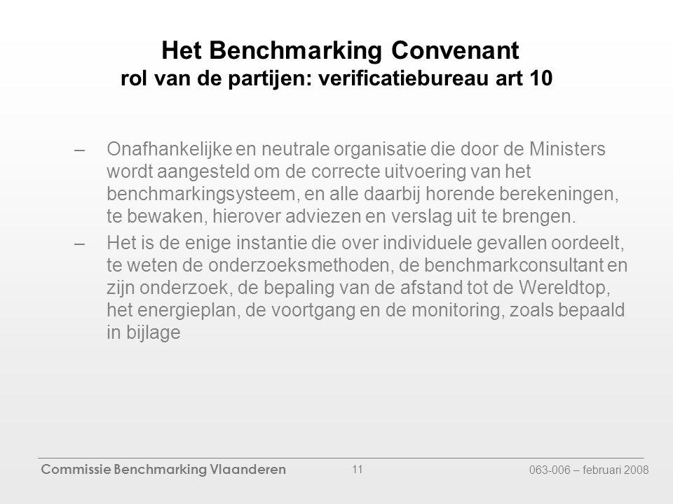 Commissie Benchmarking Vlaanderen 063-006 – februari 2008 11 Het Benchmarking Convenant rol van de partijen: verificatiebureau art 10 –Onafhankelijke en neutrale organisatie die door de Ministers wordt aangesteld om de correcte uitvoering van het benchmarkingsysteem, en alle daarbij horende berekeningen, te bewaken, hierover adviezen en verslag uit te brengen.