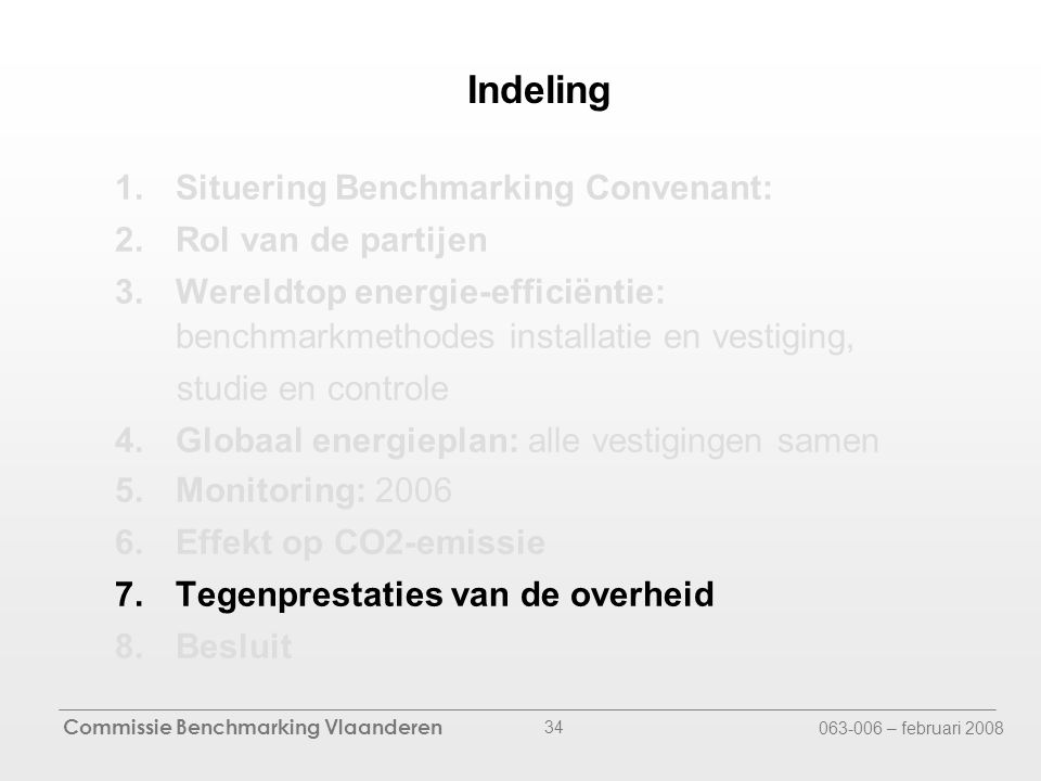 Commissie Benchmarking Vlaanderen 063-006 – februari 2008 34 Indeling 1.Situering Benchmarking Convenant: 2.Rol van de partijen 3.Wereldtop energie-efficiëntie: benchmarkmethodes installatie en vestiging, studie en controle 4.Globaal energieplan: alle vestigingen samen 5.Monitoring: 2006 6.Effekt op CO2-emissie 7.Tegenprestaties van de overheid 8.Besluit