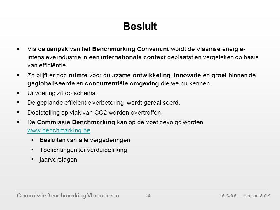 Commissie Benchmarking Vlaanderen 063-006 – februari 2008 38 Besluit  Via de aanpak van het Benchmarking Convenant wordt de Vlaamse energie- intensieve industrie in een internationale context geplaatst en vergeleken op basis van efficiëntie.