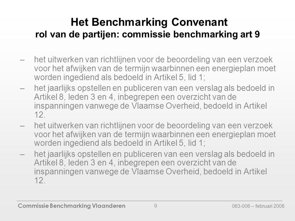 Commissie Benchmarking Vlaanderen 063-006 – februari 2008 9 Het Benchmarking Convenant rol van de partijen: commissie benchmarking art 9 –het uitwerken van richtlijnen voor de beoordeling van een verzoek voor het afwijken van de termijn waarbinnen een energieplan moet worden ingediend als bedoeld in Artikel 5, lid 1; –het jaarlijks opstellen en publiceren van een verslag als bedoeld in Artikel 8, leden 3 en 4, inbegrepen een overzicht van de inspanningen vanwege de Vlaamse Overheid, bedoeld in Artikel 12.