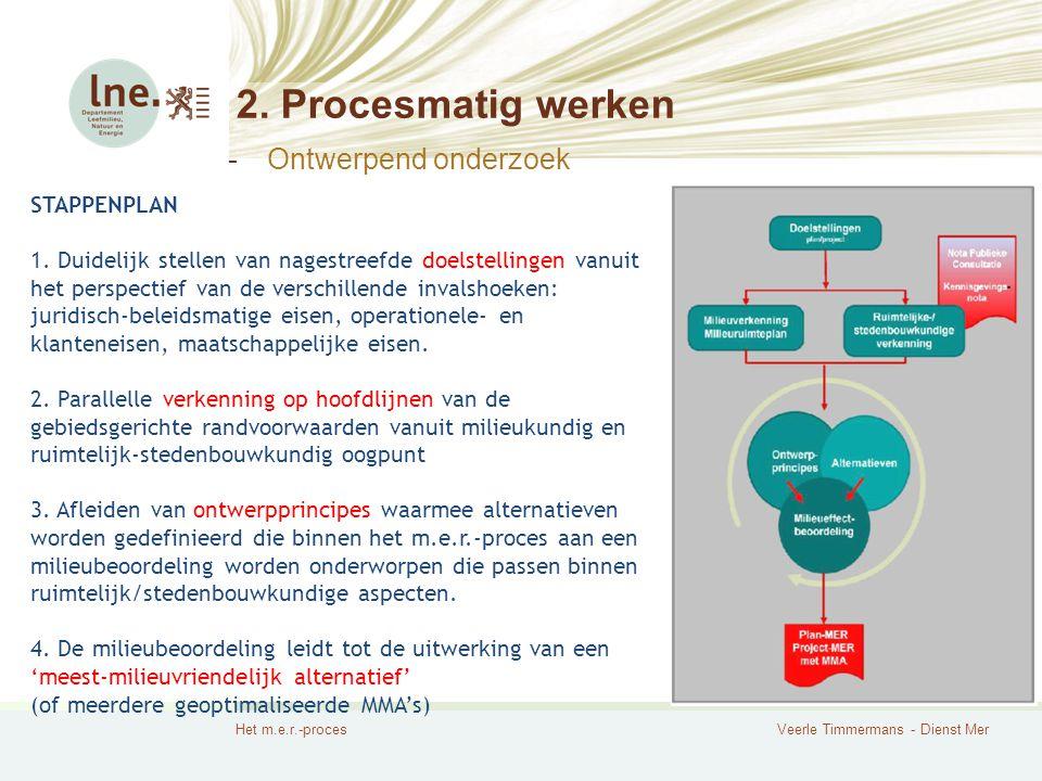 Het m.e.r.-procesVeerle Timmermans - Dienst Mer 2. Procesmatig werken STAPPENPLAN 1. Duidelijk stellen van nagestreefde doelstellingen vanuit het pers