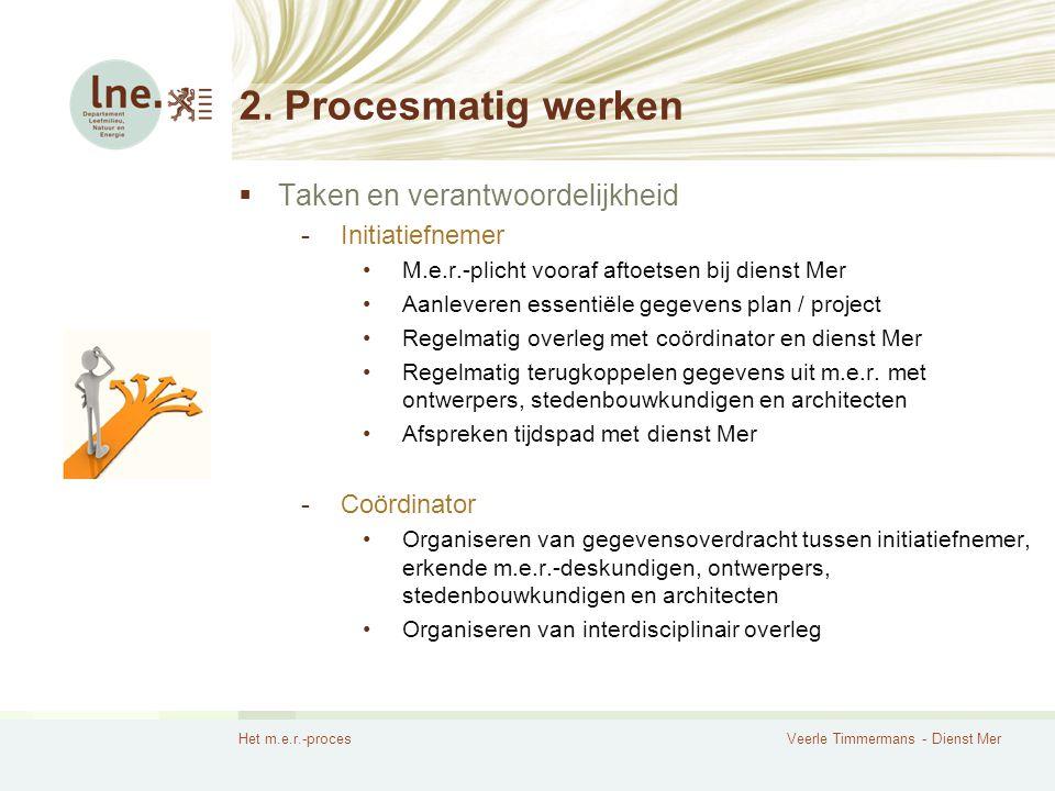 Het m.e.r.-procesVeerle Timmermans - Dienst Mer 2. Procesmatig werken  Taken en verantwoordelijkheid -Initiatiefnemer M.e.r.-plicht vooraf aftoetsen