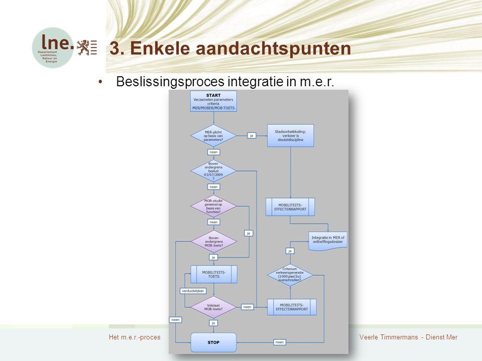 Het m.e.r.-procesVeerle Timmermans - Dienst Mer 3. Enkele aandachtspunten Beslissingsproces integratie in m.e.r.
