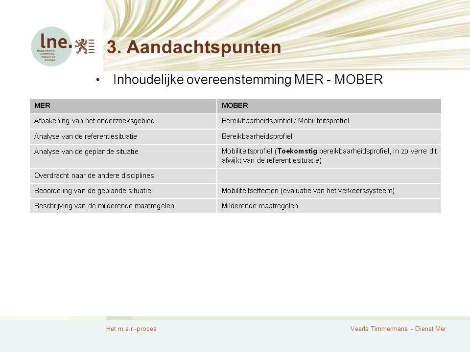 Het m.e.r.-procesVeerle Timmermans - Dienst Mer 3. Aandachtspunten Inhoudelijke overeenstemming MER - MOBER