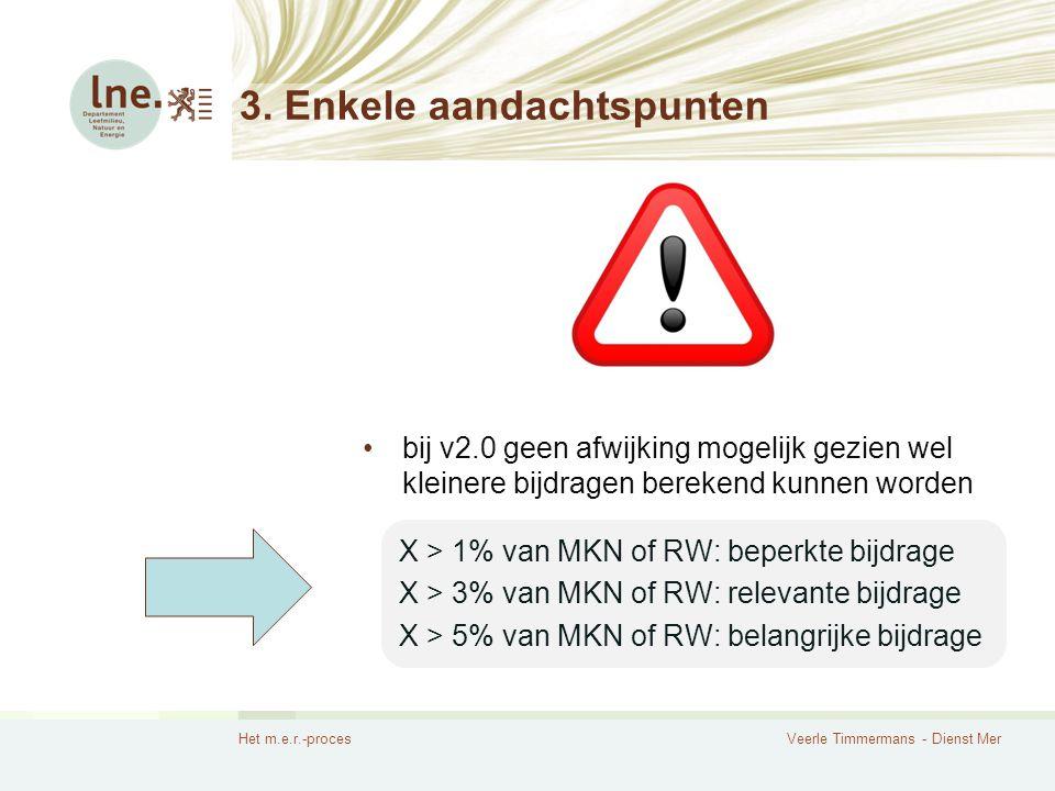 Het m.e.r.-procesVeerle Timmermans - Dienst Mer 3. Enkele aandachtspunten bij v2.0 geen afwijking mogelijk gezien wel kleinere bijdragen berekend kunn