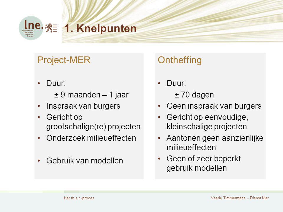 Het m.e.r.-procesVeerle Timmermans - Dienst Mer 1. Knelpunten Project-MER Duur: ± 9 maanden – 1 jaar Inspraak van burgers Gericht op grootschalige(re)