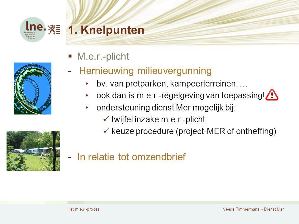 Het m.e.r.-procesVeerle Timmermans - Dienst Mer Het m.e.r.-proces 1.Knelpunten 2.Procesmatig werken  Aandachtspunten  Taken en verantwoordelijkheid -Initiatiefnemer -Coördinator -Erkende m.e.r.-deskundigen -Dienst Mer  Conclusie 3.Enkele aandachtspunten