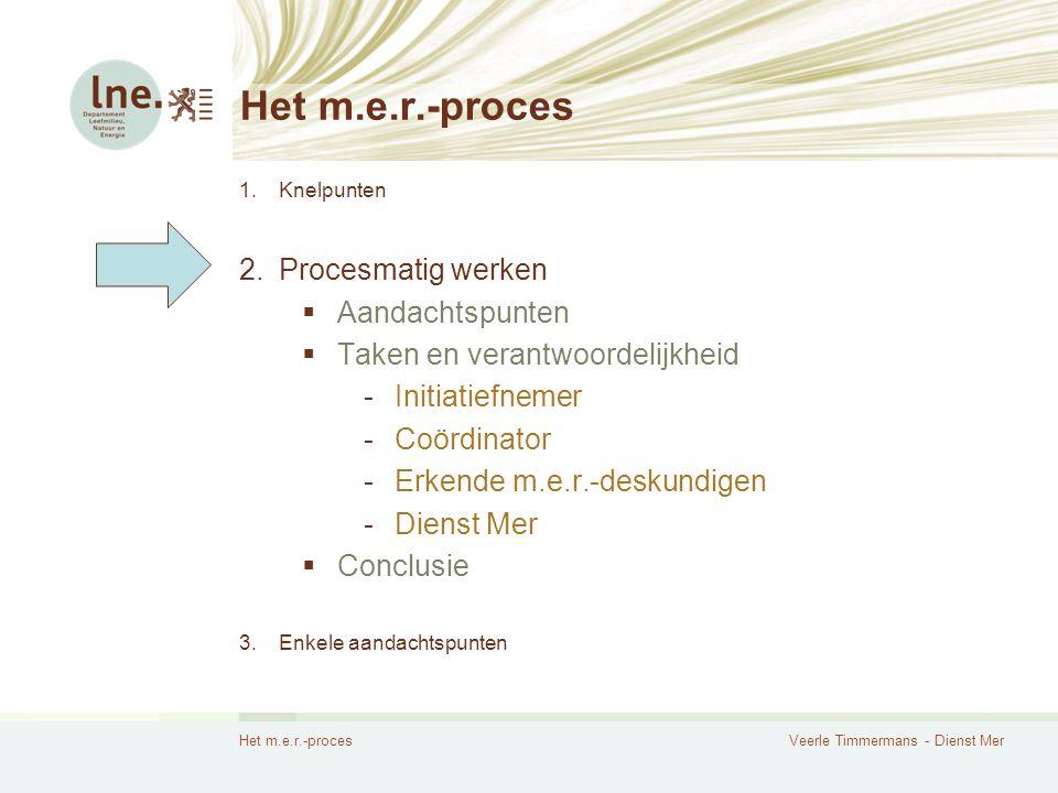 Het m.e.r.-procesVeerle Timmermans - Dienst Mer Het m.e.r.-proces 1.Knelpunten 2.Procesmatig werken  Aandachtspunten  Taken en verantwoordelijkheid